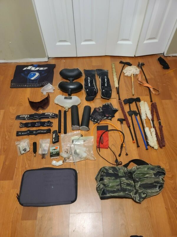 Large Lot Of Paintball Gear And Accessories dye planet eclispe sly tippmann