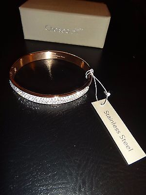 CHELSEA HILL Rose Gold Tone Stainless Steel Bangle Bracelet White Crystals + -