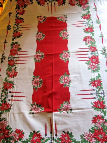 """Vintage CHRISTMAS Tablecloth Red Center Red Poinsettia Candles 93""""X 61"""" EXC Cond"""