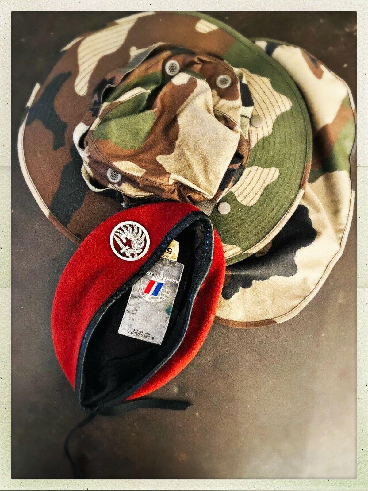 ArmÉe franÇaise : lot bÉret para + chapeau de brousse (troupes aéroportées)