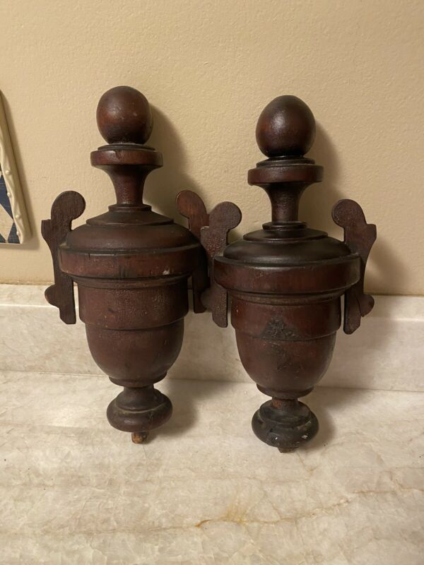 """pair lot 2 Antique Wood Newel Post Finial Pair Architectural Salvage 11"""" w/peg"""