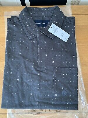 Abercrombie & Fitch Mens Black Pattern Johnny Collar Jersey Polo. New Sz...