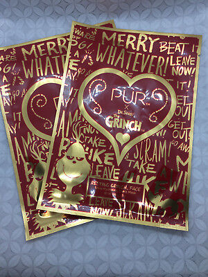 Pur Cosmetics ~The Grinch Resting Grinch Face ~ Sheet Mask 0.88 oz set lot of 2](Grinch Face Makeup)