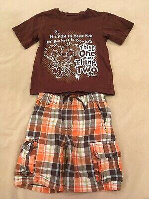 Dr Seuss Gymboree 4T Outfit Shirt Shorts Plaid Brown](Dr Seuss Outfit)