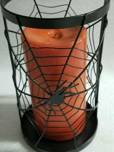 Halloween Decoration Metal Spider Pillar Candle Holder & Orange Pillar Candle