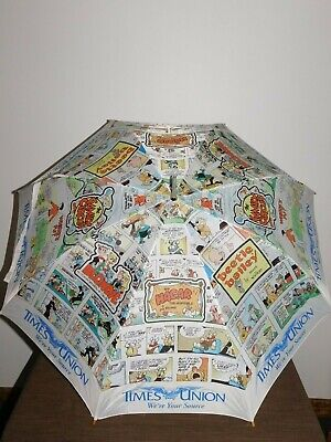 "VINTAGE ADVERTISING 32 1/2"" HIGH TIMES UNION NEWSPAPER CARTOON UMBRELLA"