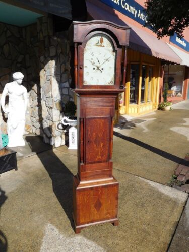 Outstanding English Oak Tall Case Clock with Inlay 19th century.
