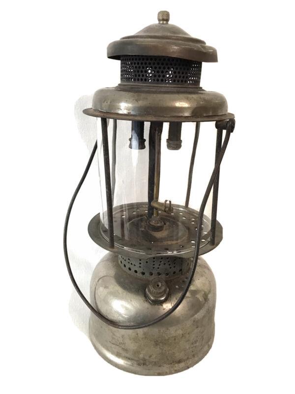 Vintage Coleman Quick Lite gas lantern with globe glass