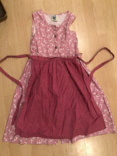 Usar Trachten Heidi German Dirndl Dress Girls Size 7-8 EUR 128 Pink Apron