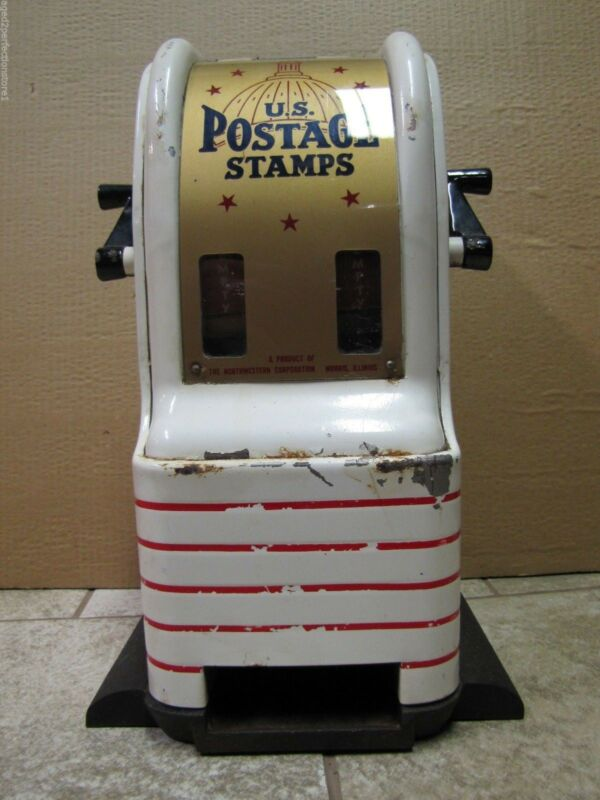 Vtg US POSTAGE STAMPS Vending Machine counter top dime quater 4&5 cent stm