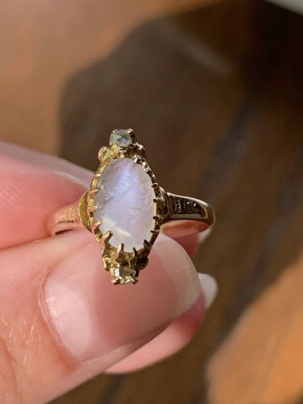Antique CARVED MOONSTONE Victorian 10k GOLD Rose Cut DIAMOND Ring Goddess Woman
