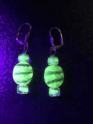Rare Czech Green Tiger Stripe Round Uranium glass bead earrings