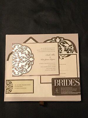 BRIDES Deluxe Wedding Invitation Kit  Brown/Ivory Flourish 30 - Brides Invitation Kit