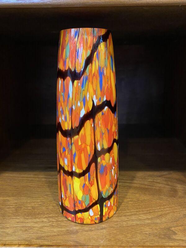 Czechoslovakia Kralik Mottled End Of Day Orange Black MCM Signed Vase Read Descp