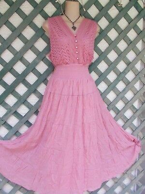 J GEE DUSTY ROSE CHEVERON CROCHET LACE PEASANT DRESS PLUS 1-2X-3X NEW BEACH BOHO - Pink Cheveron