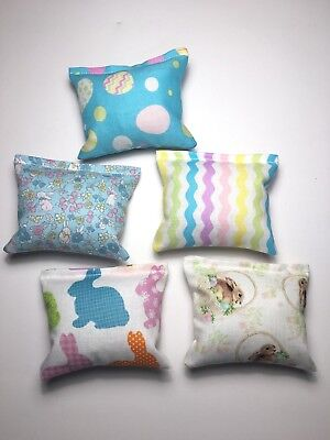 Crinkle Pillows with Catnip LOT OF 5 EASTER SPRING TIME Cat Kitten Toy Kicker