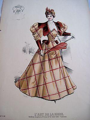 Stunning Vintage Fashion Advertising Print w/ Woman Wearing 1880's Dress B*