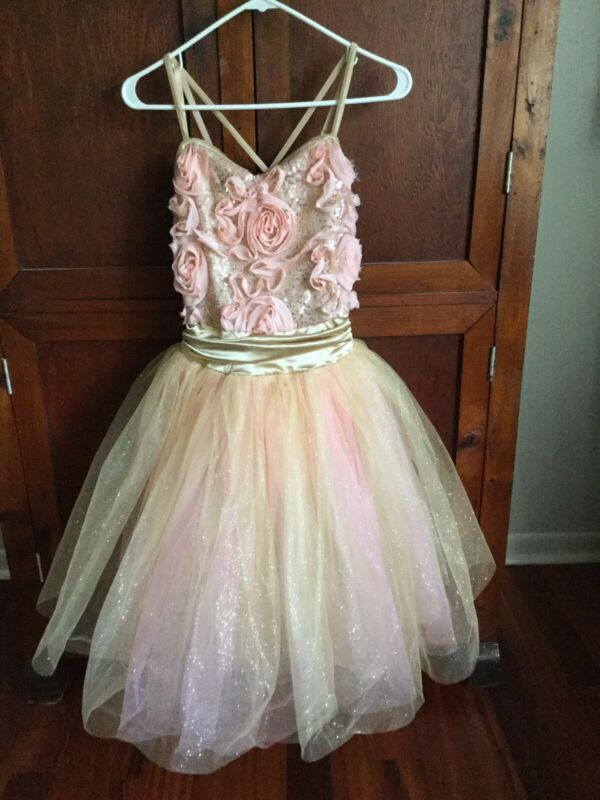 Weissman Dance Costume Adult Small Pink And Gold With 3 Layer Tutu Ballet