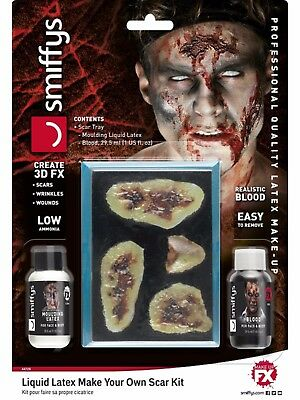 Halloween Makeup With Latex (Liquid Latex Halloween FX Zombie Make Your Own Fake Scars Make Up Kit With)