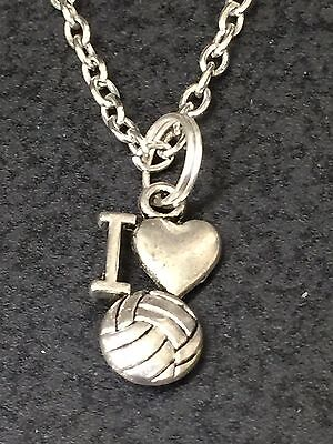 I Love Volleyball Charm Tibetan Silver with 18
