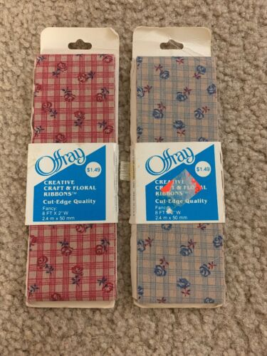 2 of old stock vintage fabric ribbon