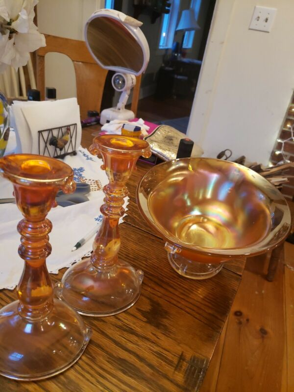 Vintage Marigold Iridescent Glass Bowl And Candlesticks