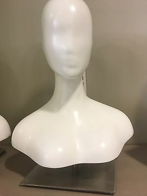 Head To Shoulders Table Display Mannequin Retail Store Jewelry Hat Matte White