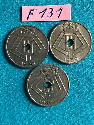 Belgique - Léopold III : Lot - Série complète de 3 x 5 centimes type Jespers