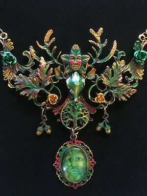 Large Green Man Bronze Deer Stag Necklace Steampunk Green OOAK Tree Celtic Pagan