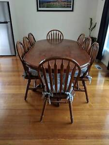 Solid timber wooden dining table and chairs