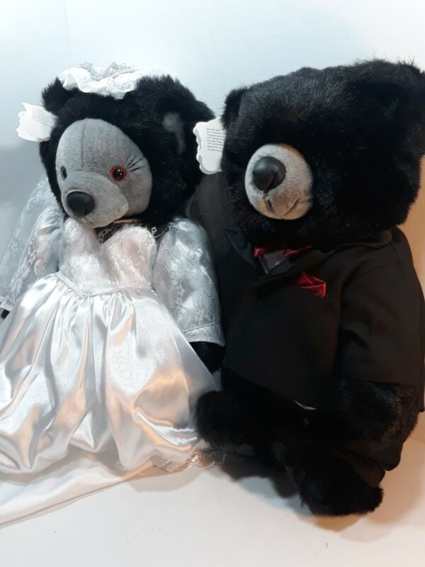 """Vintage 1997 Bride & Groom Blue Bell Collection, Wedding Vow Bears 17"""" tall."""