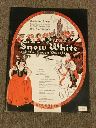 1938-Walt Disney Snow White And The Seven Dwarf Souvenir Album Song  Sheet Music