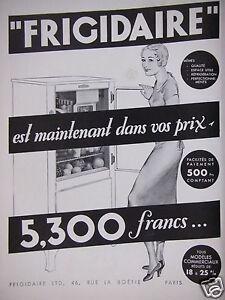 publicit frigidaire est maintenant dans vos prix 5300 francs ebay. Black Bedroom Furniture Sets. Home Design Ideas