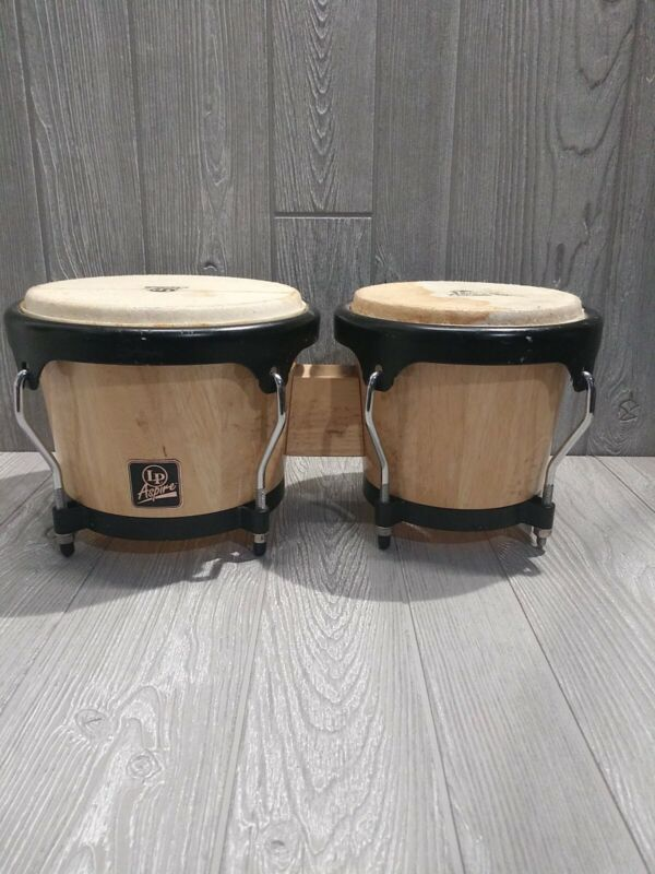 "LP Aspire BONGO DRUMS by LP Latin Percussion~Wood~8.5"" & 7"" Head (Head Damaged)"