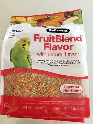 ZuPreem FruitBlend.Fruit blend 10 lb small bird food, Parakeets, Bulbuls.