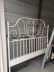 Bed frame and rails metal white.