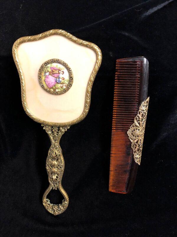 Vintage Victorian Vanity Dresser Set Gold Filigree Brush/comb Set