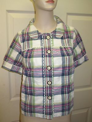 Juicy Couture Hard Woven Montauk Plaid Short Sleeve Blouse Shirt Top Womens 6