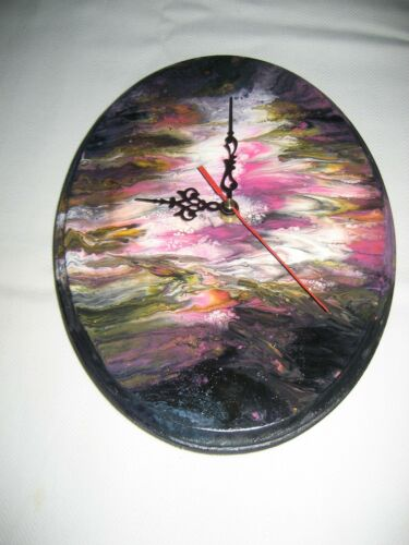 Hand painted Wooden Wall Clock Multicolored Design, One of a kind.