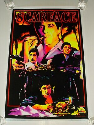 "2008 SCARFACE Movie Al Pacino Blacklight Poster Flocked Scorpio 23"" x 35"" RARE"