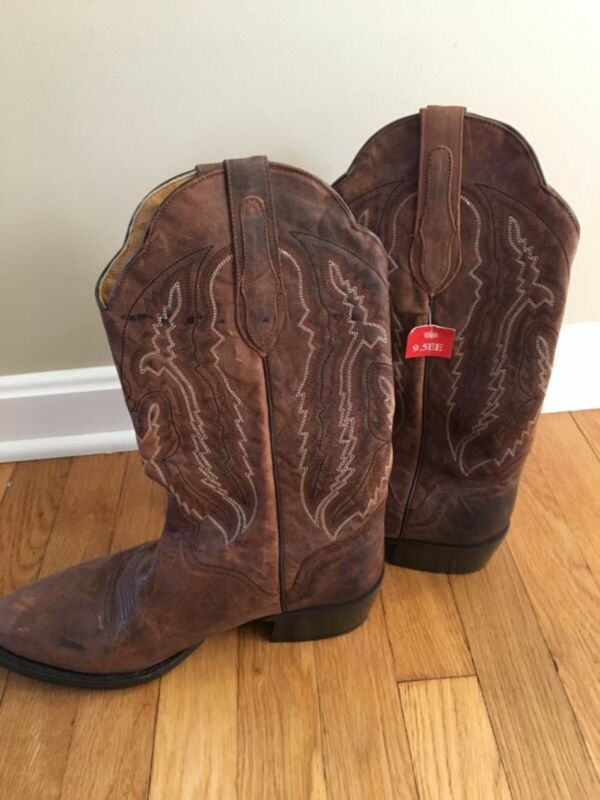 J.B., Dillon, JBM3205, Brown, Distressed, Goat, Leather, Cowboy, Boots, Mens, Size, 9.5EE