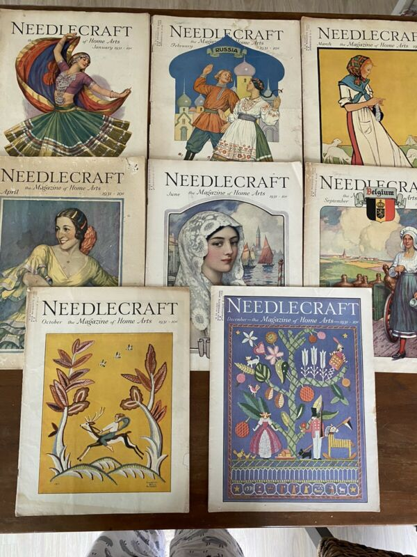 Needlecraft Magazine 1931 Issues #8 Total Great Vintage Graphics