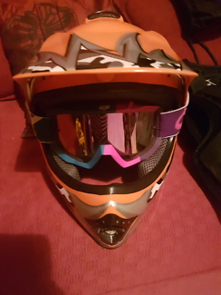 Fox goggles and XL youth helmet
