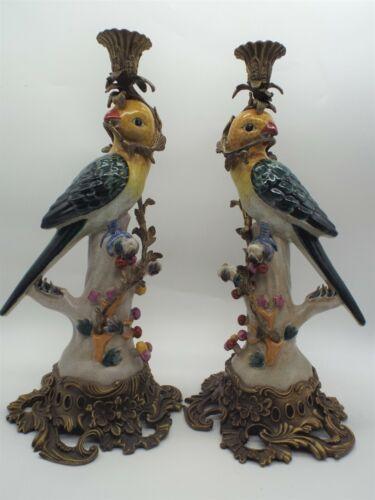 Vintage Parrot Porcelain Bronze Pair Candleholders Excellent Cond.