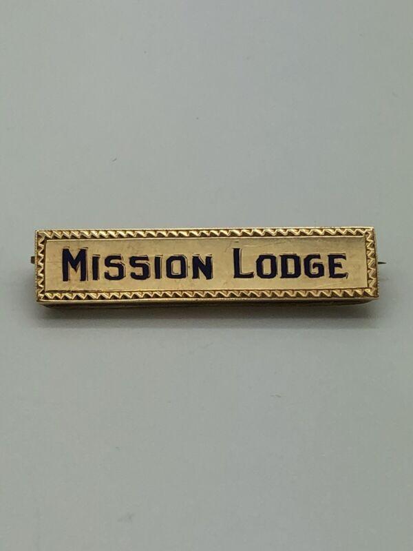 Vintage Masonic Tie Tac Pin 14k Yellow Gold Mission Lodge Signet Mason Estate