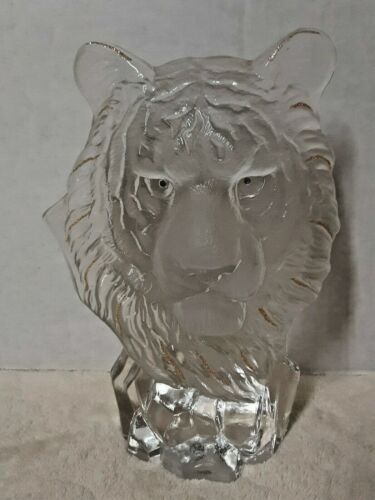 Clear Glass Tiger Head Figurine with glitter highlights