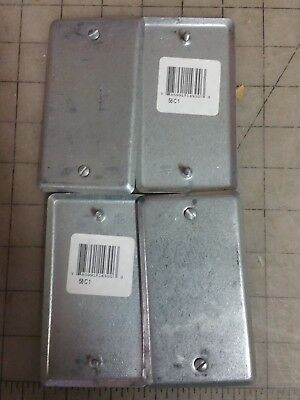 Lot Of 4 - Metal Blank Electrical Box Cover 1 Gang Single Paintable Steel City