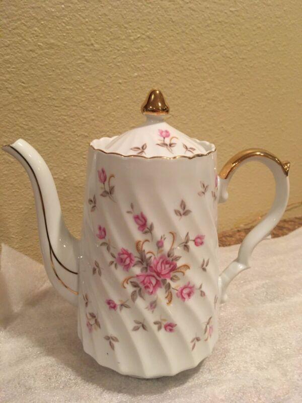 "Vintage Lefton China Hand Painted ""Rose Chintz"" Teapot"