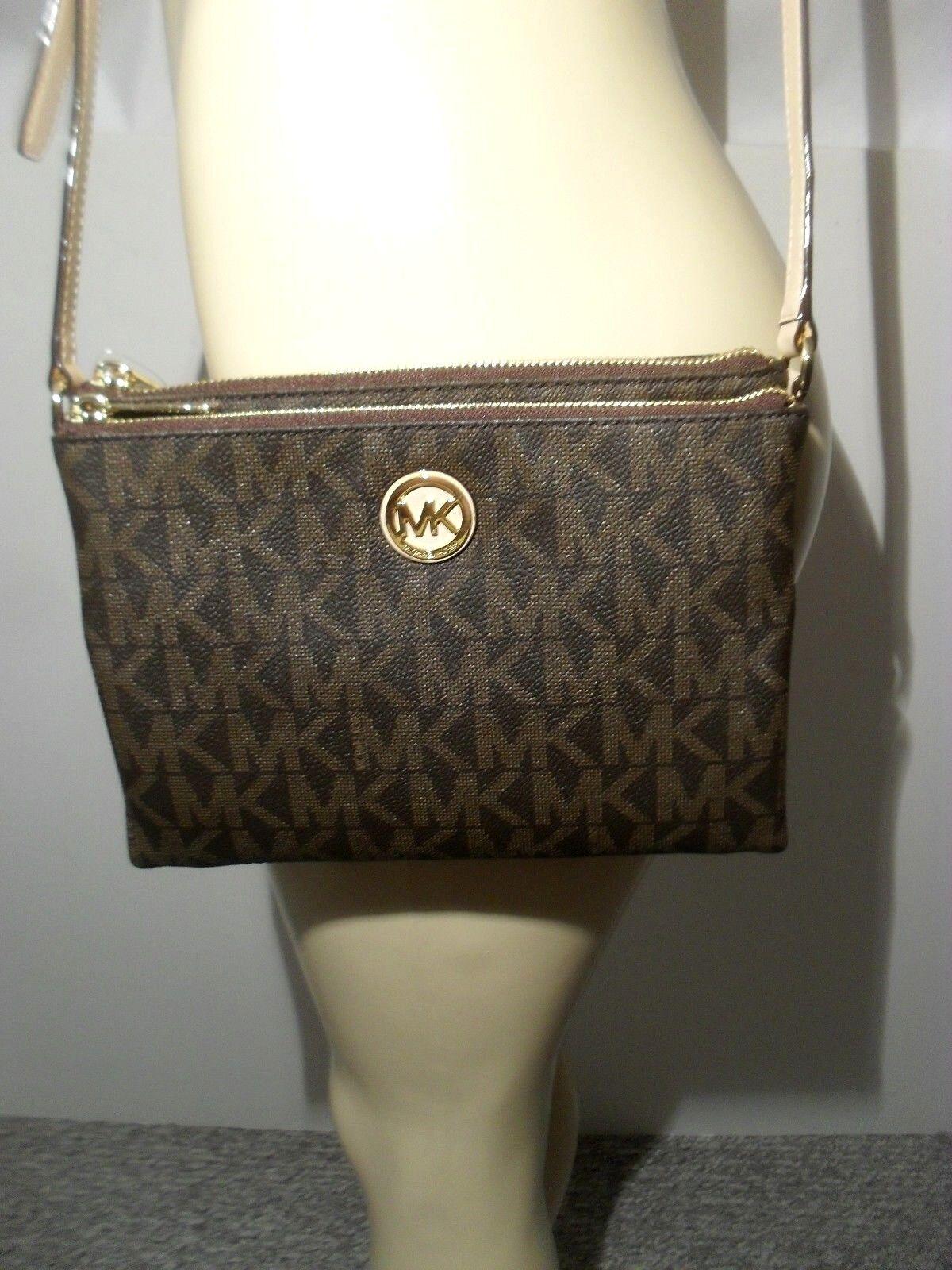 Michael Kors - NWT Michael Kors Brown Fulton Large EW Crossbody PVC Handbag MK Messenger Bag