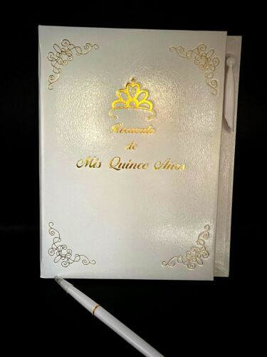 Mis Quince Años Quinceanera Guest Book with Gold Design Decoration